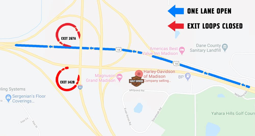 Exit & Lane Closures for I-39/90 Construction