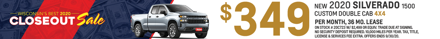 Lease a 2020 Silverado Custom Double Cab 4X4 for as low as $349/mo for 36mo