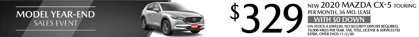Lease a new Mazda CX-5 for as low as $329/mo for 36mo.