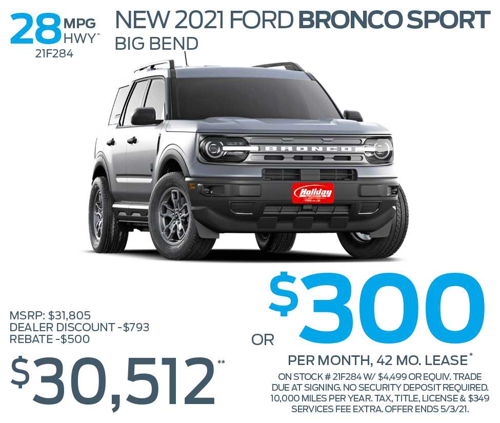 Lease new Ford Bronco Sport for as low as $300/mo for 42mo