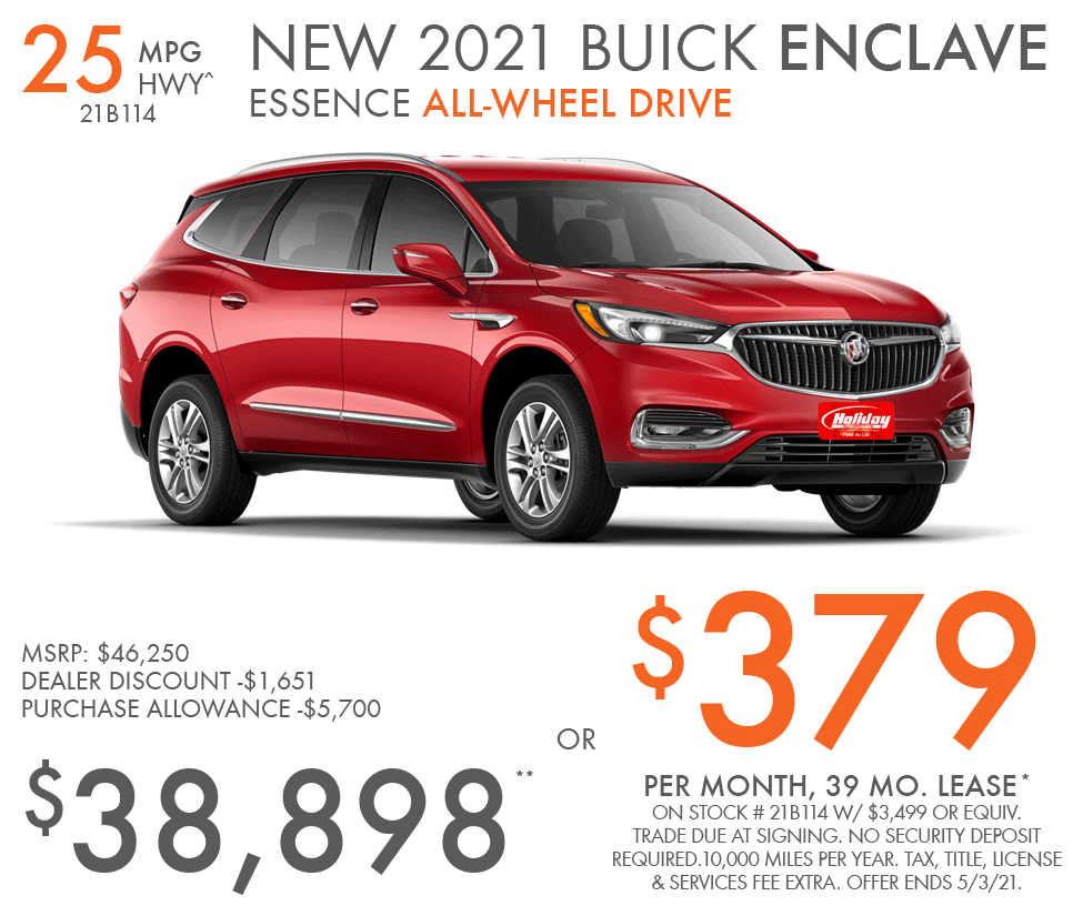 Lease new Buick Enclave for as low as $379/mo for 39mo