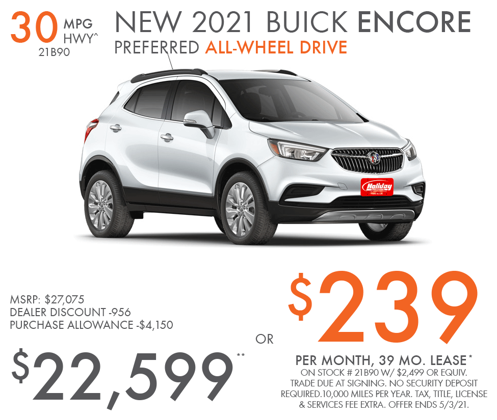 Lease new Buick Encore for as low as $239/mo for 39mo