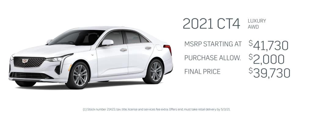 Save up to $2,000 on a new 2021 Cadillac CT4