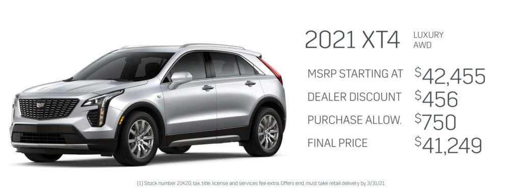 Save up to $1,206 on a new Cadillac XT4