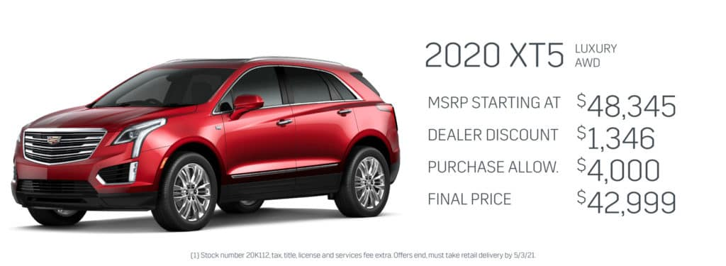 Save up to $5,346 on a new 2020 Cadillac XT5