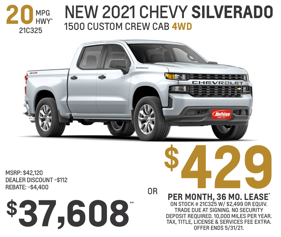 Lease new Chevy Silverado Custom Crew Cab 4WD for as low as $429/mo for 36mo