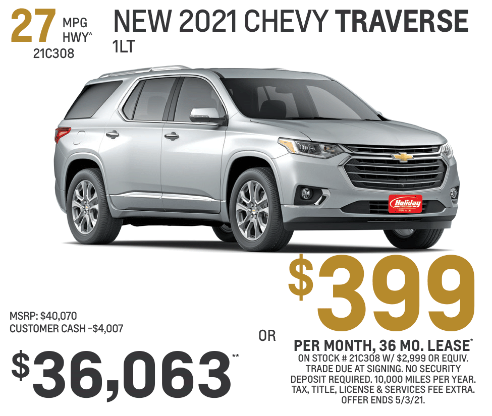 Lease new Chevrolet Traverse 1LT for as low as $399/mo for 36mo