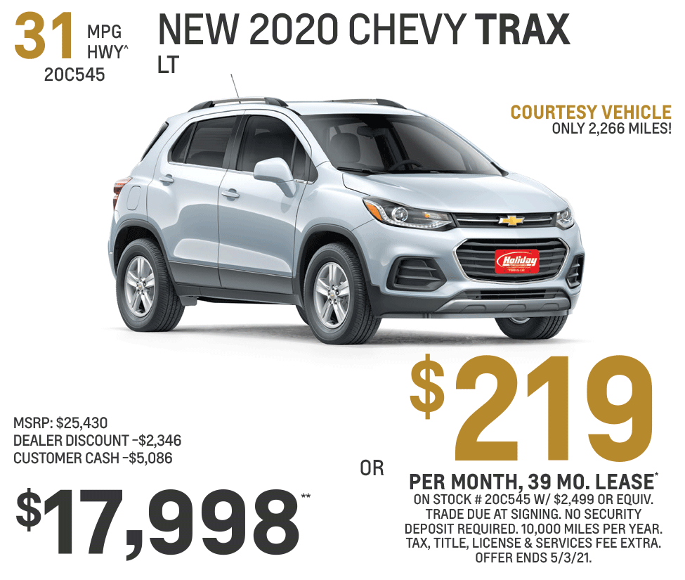 Lease a new Chevy Trax for as low as $219/mo for 39mo