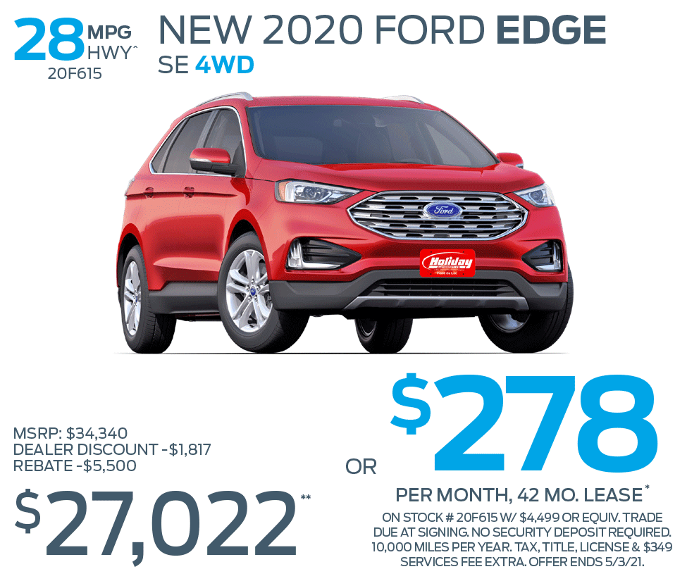 Lease new Ford Edge SE 4WD for as low as $278/mo for 42mo