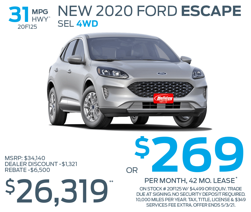 Lease a new 2020 Ford Escape SE 4WD for as low as $269/mo for 42mo
