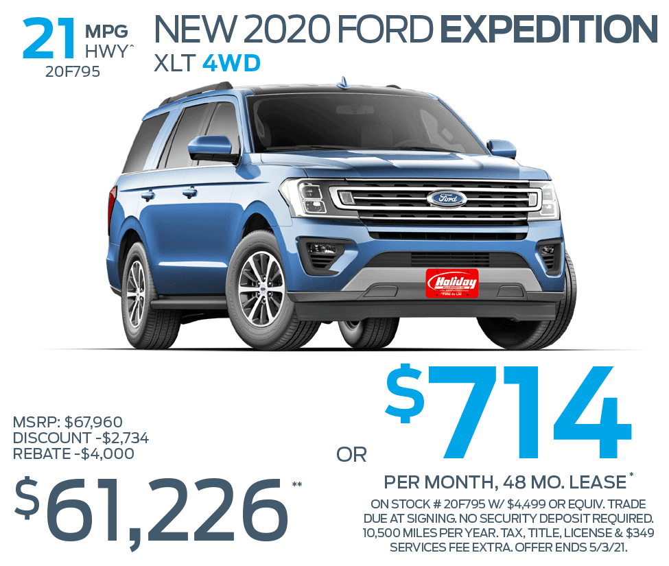 Lease a new 2020 Ford Expedition for as low as $714/mo for 48mo