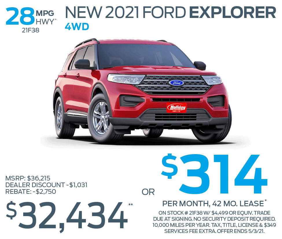 Lease a new Ford Explorer 4WD for as low as $314/mo for 42mo