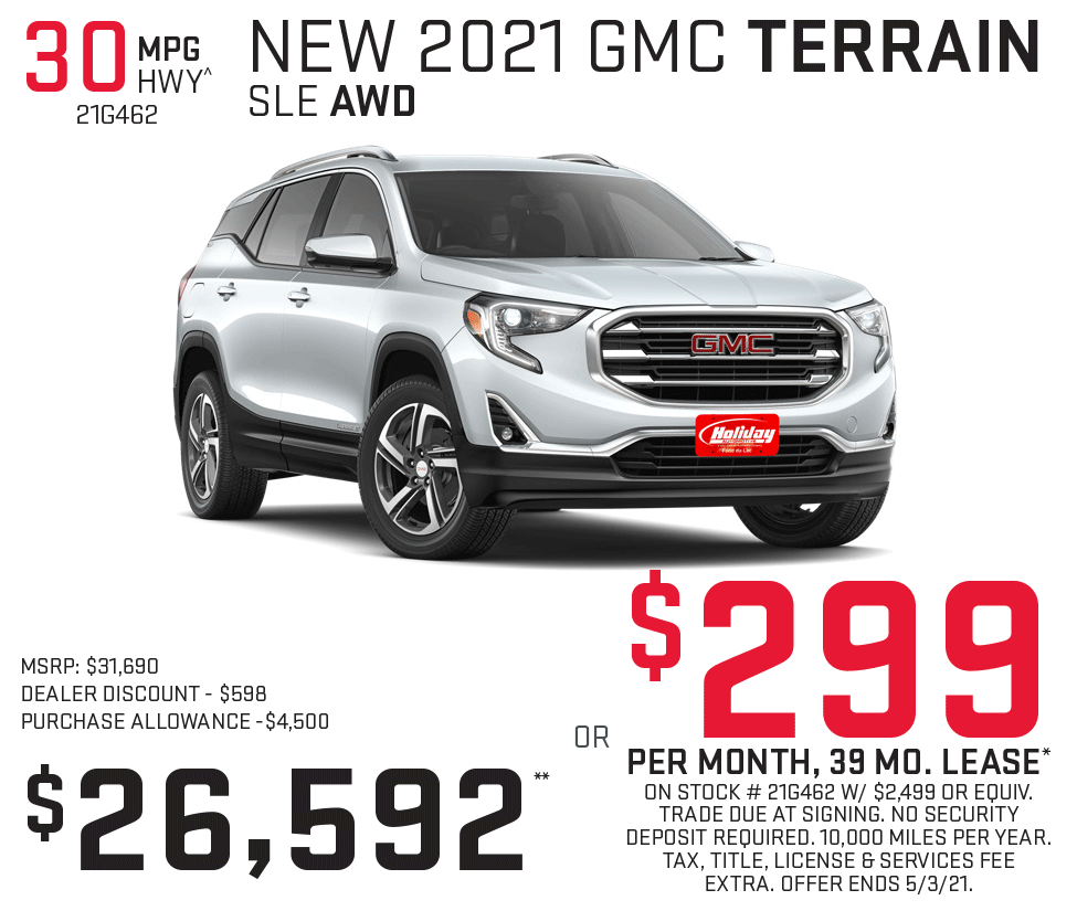 Lease a new GMC Terrain for as low as $299/mo for 39mo