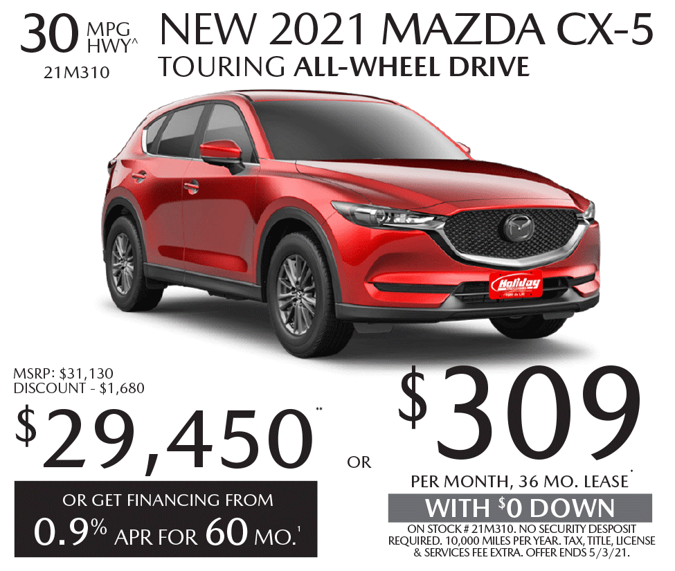Lease a new Mazda CX-5 for as low as $309/mo for 36mo