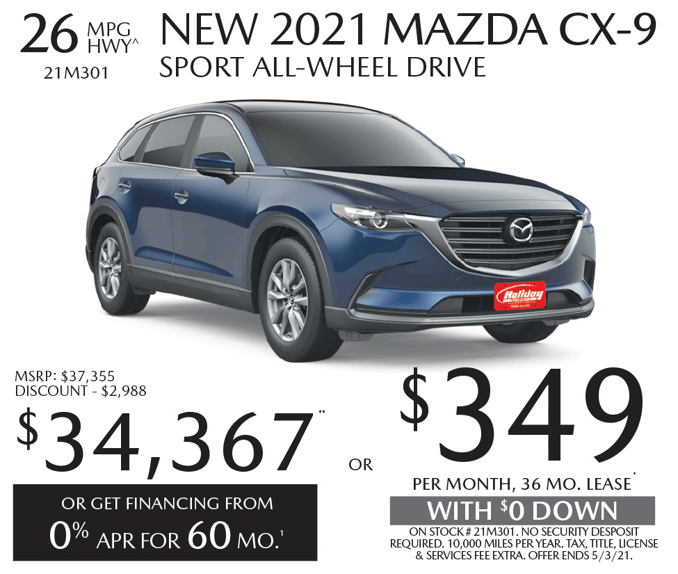 Lease a new Mazda CX-9 for as low as $349/mo for 36mo