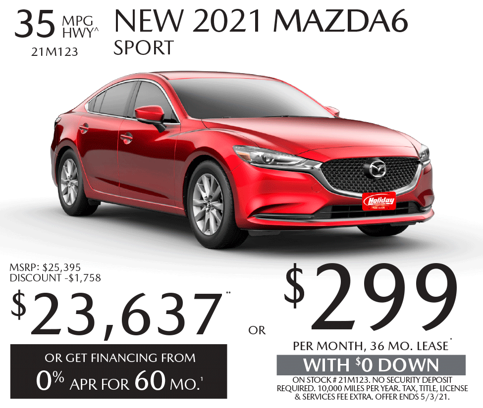 Lease new Mazda6 for as low as $299/mo for 36mo