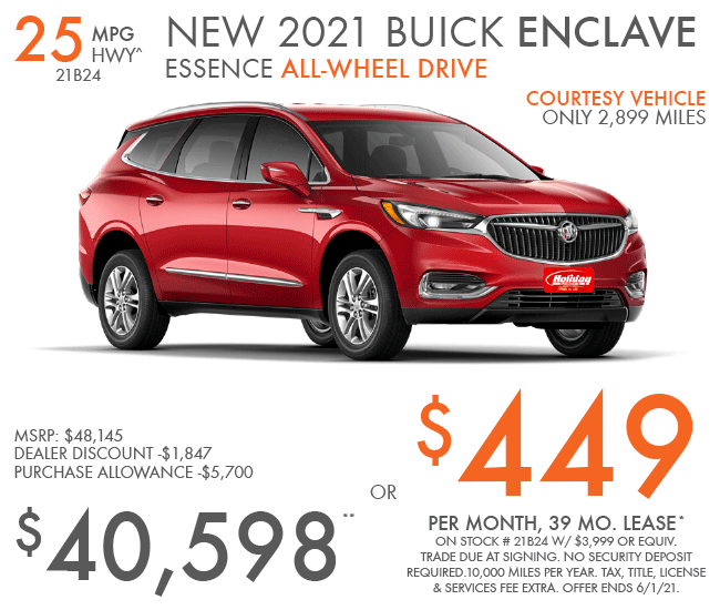 Lease a new Buick Enclave for as low as $449/mo for 39mo