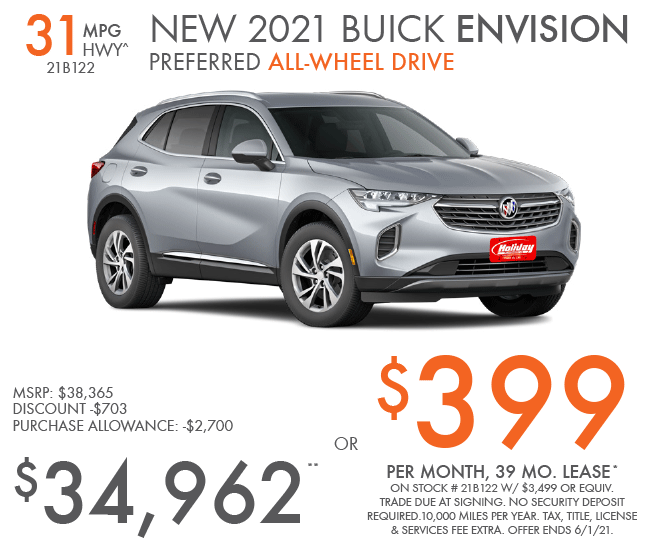 Lease new Buick Envision for as low as $399/mo for 39mo