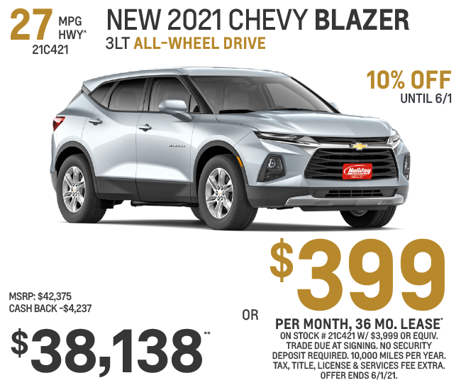 Lease a new Chevy Blazer for as low as $399/mo for 36mo