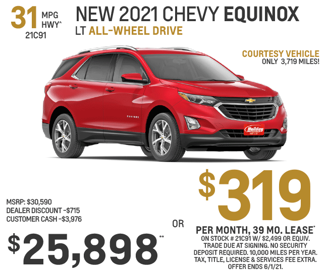 Lease a new Chevy Equinox $319/mo for 39mo