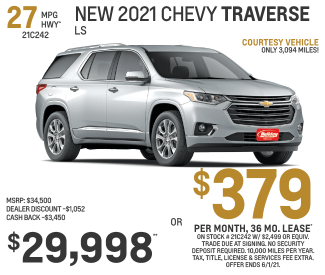 Lease a new Chevy Traverse for as low as $379/mo for 36mo