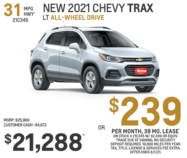 Lease a new Chevy Trax $239/mo for 39mo