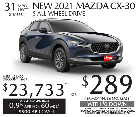 Lease a new Mazda CX-30 for as low as $289/mo for 36mos