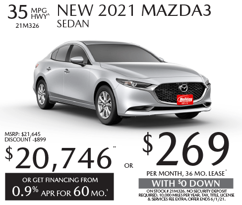 Lease new Mazda3 for as low as $269/mo for 36mo