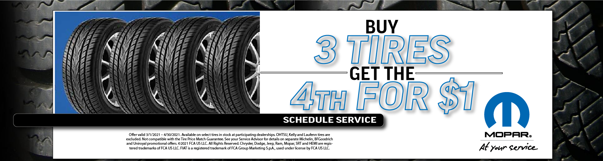 Buy 3 Get 4th Tire – March 2021