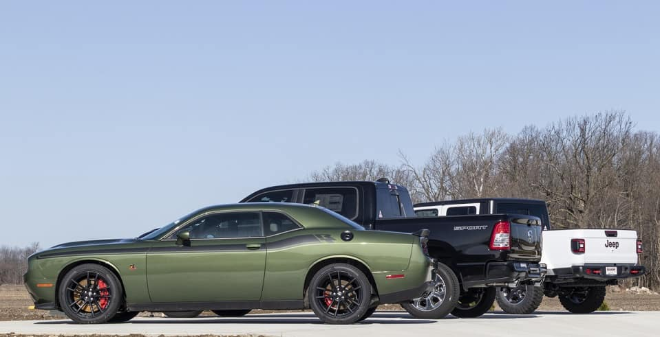Dodge, RAM, and Jeep models on display