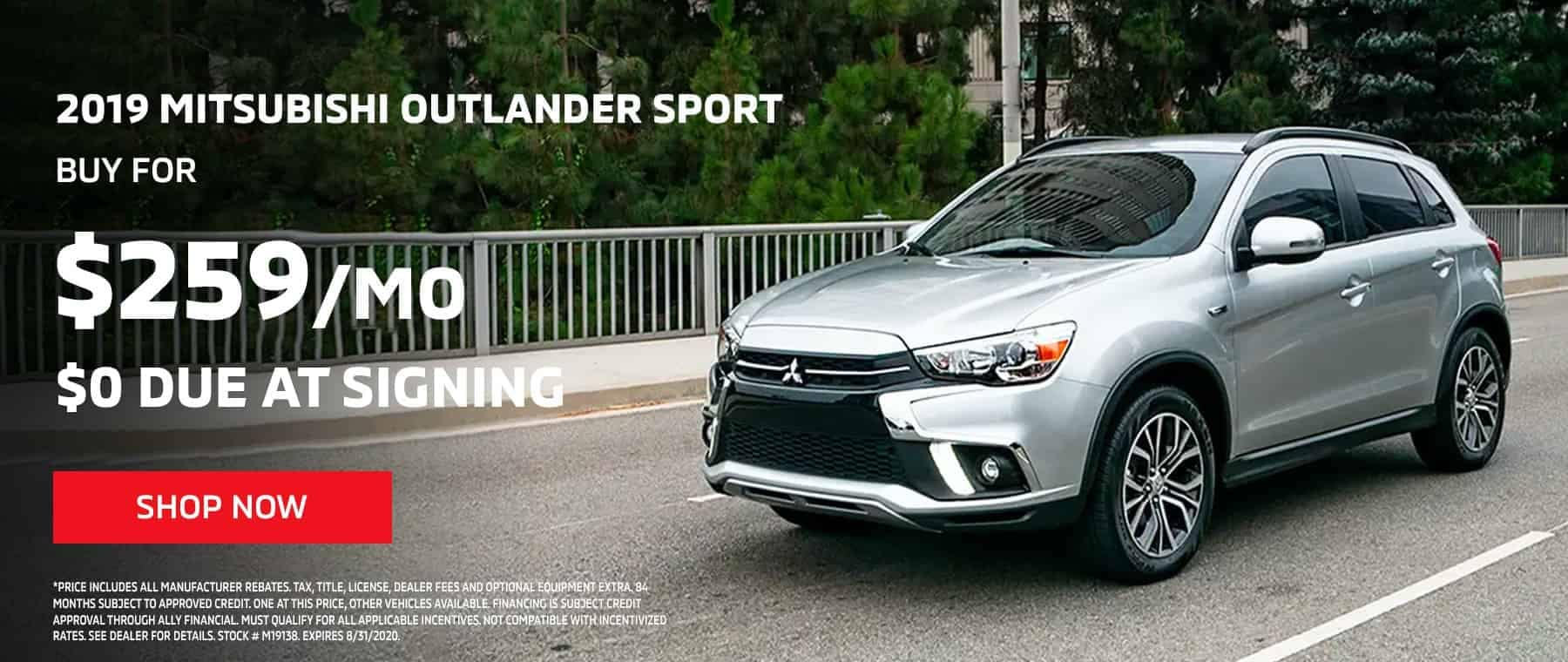 2019 OUTLANDER SPORT – AS LOW AS $259 PER MONTH, $0 DOWN
