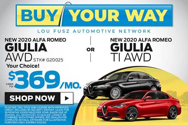 NEW 2020 ALFA ROMEO GIULIA AWD or GIULIA Ti AWD