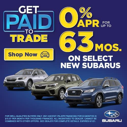 0% APR FOR UP TO 63 MONTHS ON SELECT NEW SUBARUS
