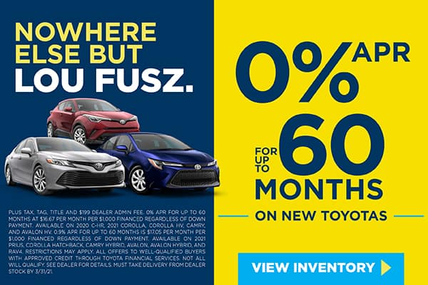 0% APR FOR UP TO 60 MONTHS ON NEW TOYOTAS
