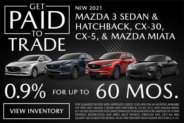 New 2021 Mazda3, CX-30, CX-5, and Miata