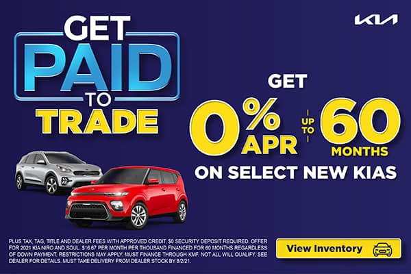 GET 0% FOR UP TO 60 MONTHS ON SELECT NEW KIAS