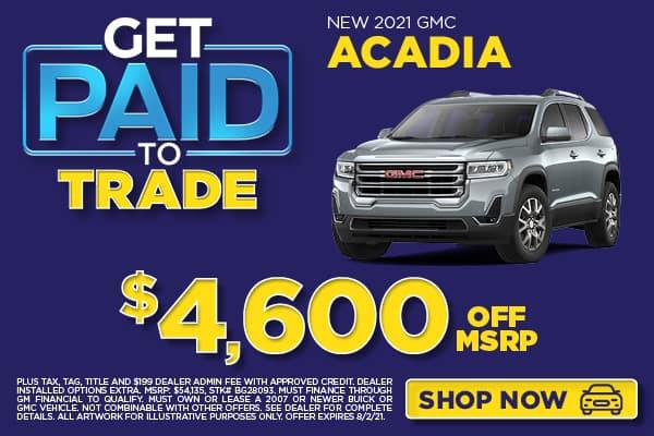 NEW 2021 GMC ACADIA $4,600 OFF MSRP