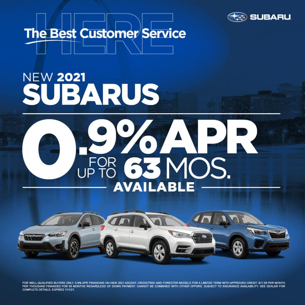 NEW 2021 SUBARUS  0.9% APR FOR UP TO 63 MONTHS
