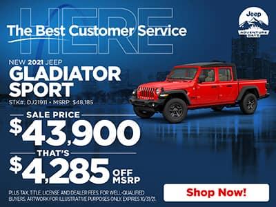 New 2021 Jeep Gladiator Sport S 4WD Crew Cab Pickup