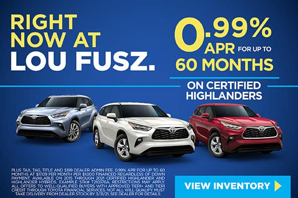 0.99% APR FOR UP TO 60 MONTHS ON CERTIFIED TOYOTAS