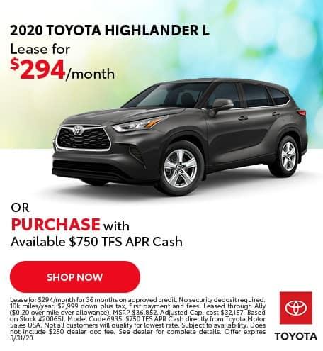 New 2020 Toyota Highlander L FWD