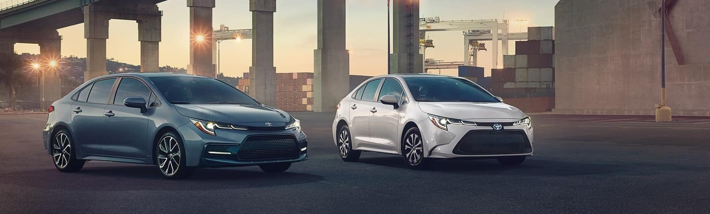 Two 2021 Toyota Corollas parked side by side