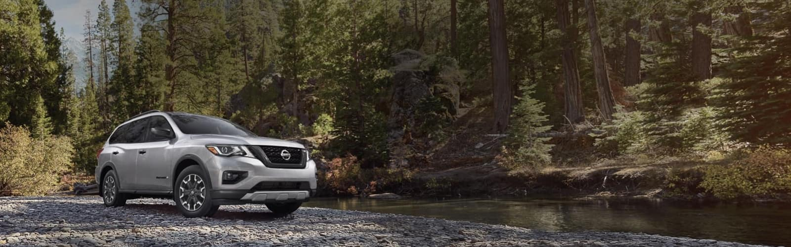 Silver SUV parker next to stream in a forest
