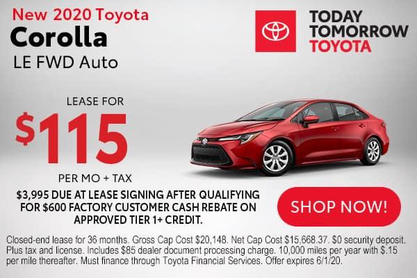 New 2020 Toyota Corolla LE FWD Auto