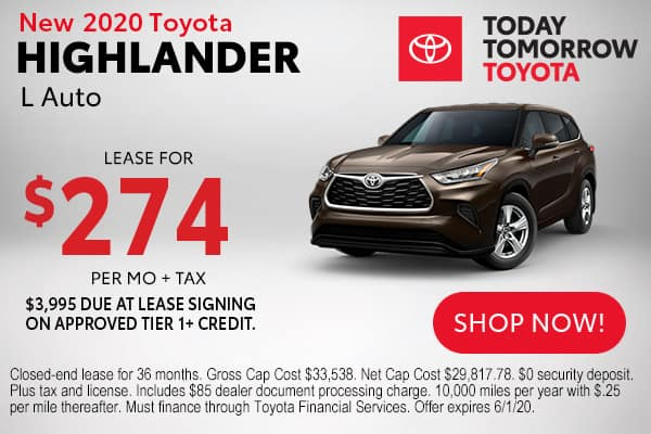 New 2020 Toyota Highlander L Auto