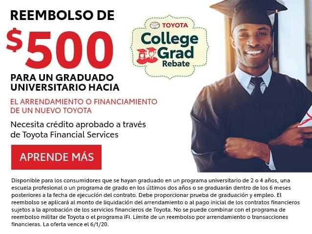 Reembolso De $500 Para un Graduado Universitario Hacia
