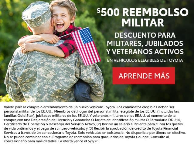 $500 Reembolso Militar