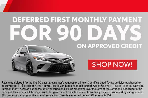 Deferred First Monthly Payment for 90 Days