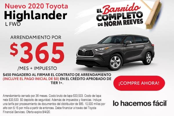 2020 Toyota Highlander L FWD