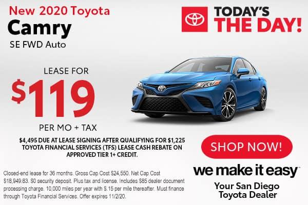 New 2020 Toyota Camry SE FWD Auto